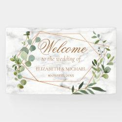 Copper Geometric Eucalyptus Marble Elegant Wedding Banner