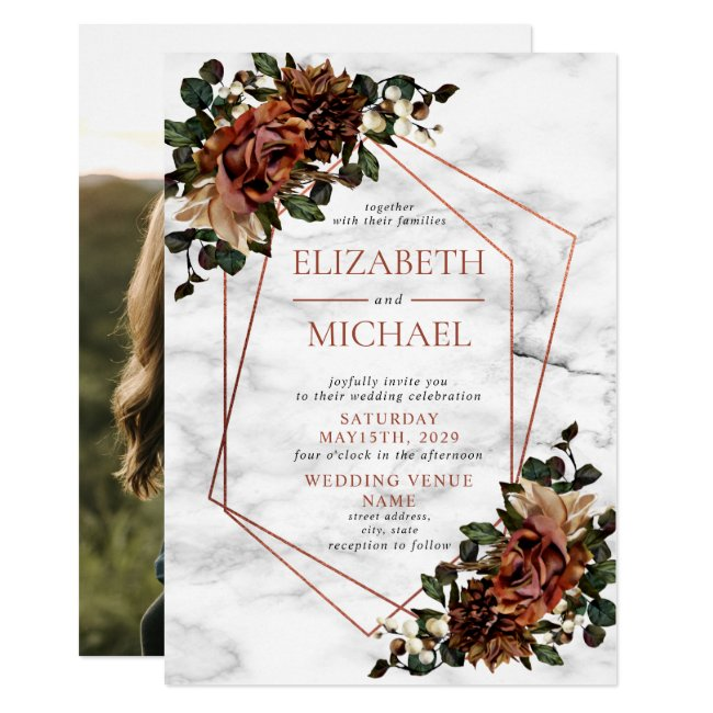 Copper Geometric Marble Dried Floral Wedding Invitation