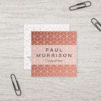 Copper geometric pattern square business card