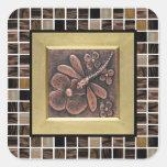Copper Glass Tiles Square Sticker
