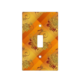 Copper Gold Metallic Floral Light Switch Cover