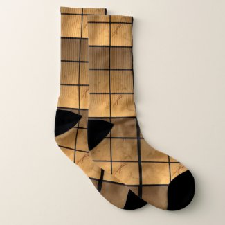Copper Golden Square Pattern Socks