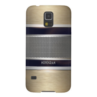 Copper & Gray Metal Look Collage-Monogram Galaxy S5 Cover