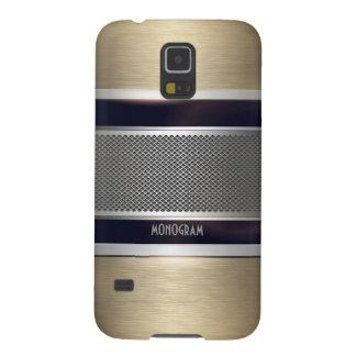 Copper & Gray Metal Look Collage-Monogram Galaxy S5 Cover