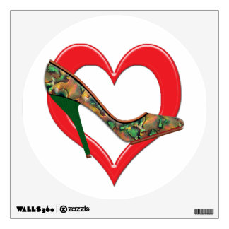 Copper & Green Mottled Patterned Pumps Wall Decal