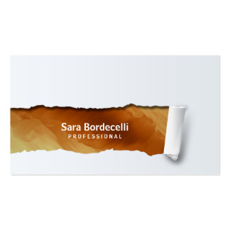 Copper Grunge Ripped Professional Business Card