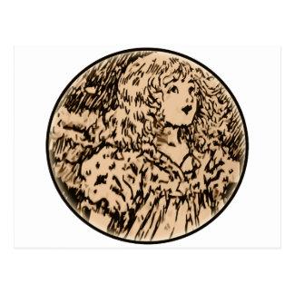Copper hair beauty postcard