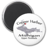 Copper Harbor Michigan Heart Map Design Magnet Refrigerator Magnets