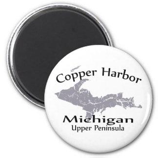 Copper Harbor Michigan Map Design Magnet