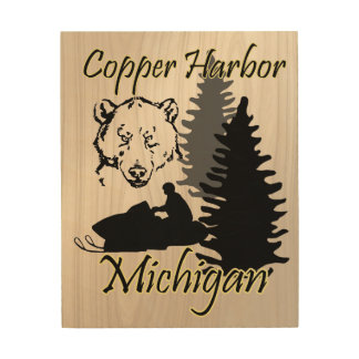 Copper Harbor Michigan Snowmobile Bear Wood Art