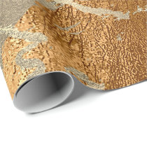 Copper Honey Foxier Gold Marble Shiny Metallic VIP Wrapping Paper