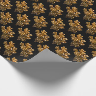 Copper in Natural Form on Black Background Wrapping Paper