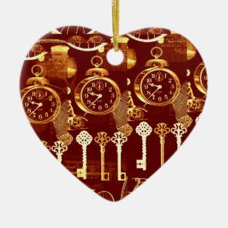 Copper Keys & Clocks Steampunk Dream Foundry Heart Ceramic Ornament