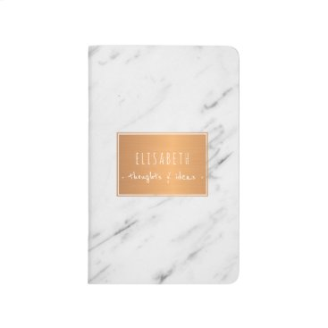 Beach Themed Copper label on white marble stylish notes journal