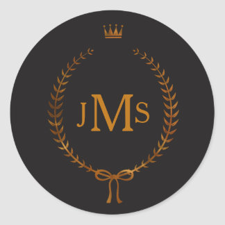 Copper Laurel Wreath with Crown Elegant Monogram Classic Round Sticker