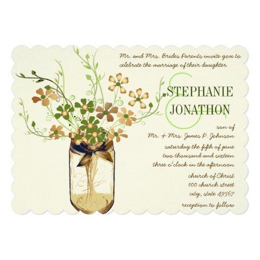 Copper Lime Olive Mason Jar Wild Flower Wedding Personalized Invite