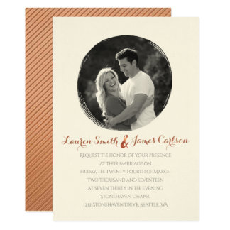 Copper-look ampersand and painted circle photo card