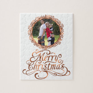 Copper-look Berry wreath & Merry Christmas script Jigsaw Puzzle