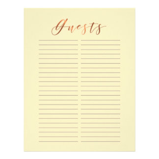 Copper-look script on ivory guestbook page design