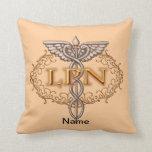 Copper LPN Nurse Caduceus Throw Pillows