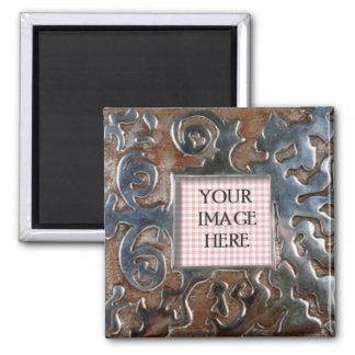 Copper Metal Swirls Template 2 Inch Square Magnet
