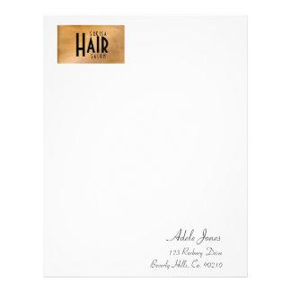 Copper Metallic Hair Salon Letterhead