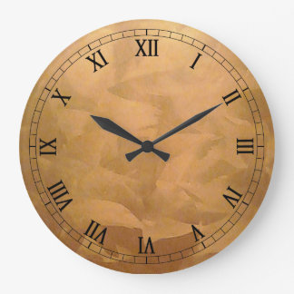 Copper Metallic Hand Brushed Large Clock