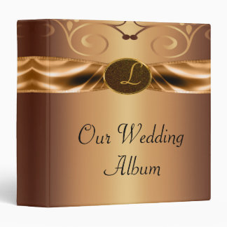 Copper Metallic Scrolls & Ribbon Monogram Wedding 3 Ring Binders
