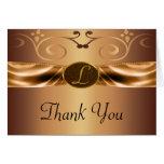 Copper Metallic Scrolls & Ribbon Monogram Wedding Stationery Note Card