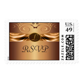 Copper Metallic Scrolls & Ribbon Monogram Wedding Postage