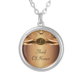 Copper Metallic Scrolls & Ribbon Monogram Wedding Silver Plated Necklace