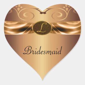 Copper Metallic Scrolls & Ribbon Monogram Wedding Heart Sticker