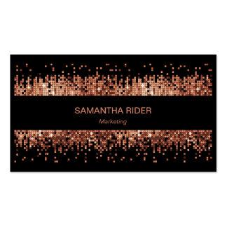 Copper Metallic Sequins on Black Modern Business Card