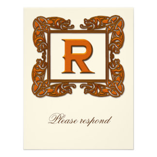 Copper Monogrammed Celtic Wedding RSVP Announcements