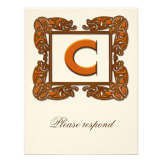 Copper Monogrammed Celtic Wedding RSVP Custom Invites
