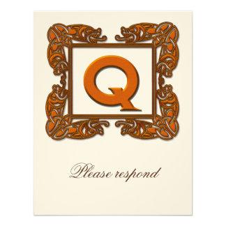 Copper Monogrammed Celtic Wedding RSVP Custom Announcement