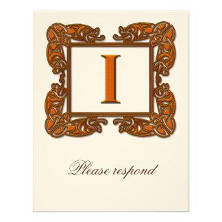 Copper Monogrammed Celtic Wedding RSVP Custom Invite