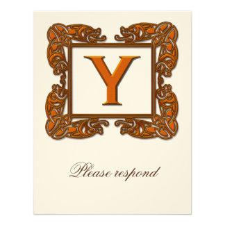 Copper Monogrammed Celtic Wedding RSVP Custom Invitation