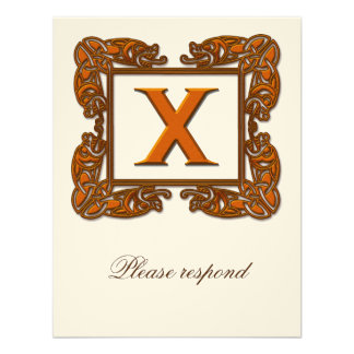 Copper Monogrammed Celtic Wedding RSVP Personalized Invitations