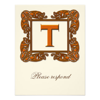 Copper Monogrammed Celtic Wedding RSVP Invitation