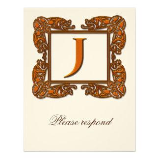 Copper Monogrammed Celtic Wedding RSVP Personalized Invite
