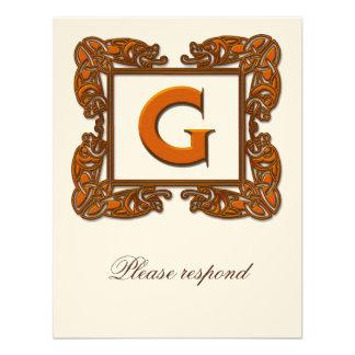 Copper Monogrammed Celtic Wedding RSVP Invites