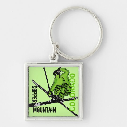 Copper Mountain Colorado green skier keychain