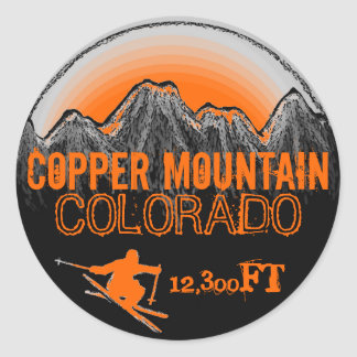 Copper Mountain Colorado orange ski art stickers