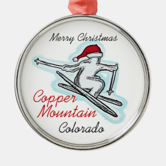 Copper Mountain Colorado santa skier ornament