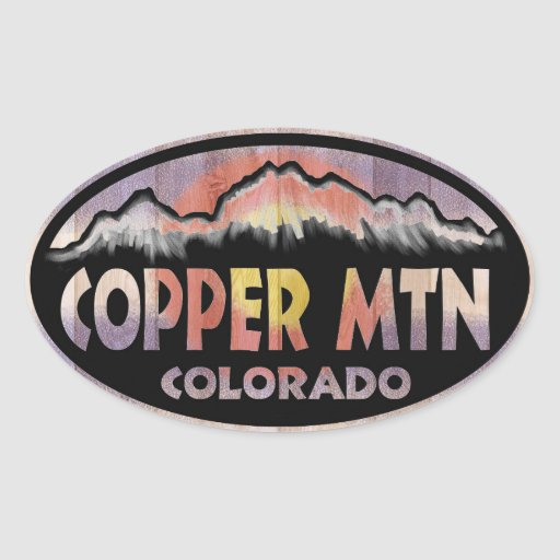 Copper Mountain Colorado wood flag oval stickers