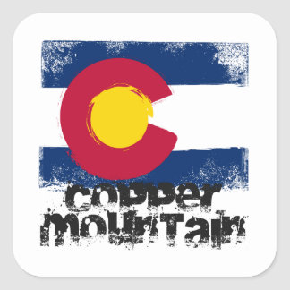 Copper Mountain Grunge Flag Square Sticker