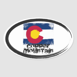 Copper Mountain Grunge Flag Oval Stickers