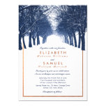 Copper Navy Winter Trees Avenue Wedding Invitation