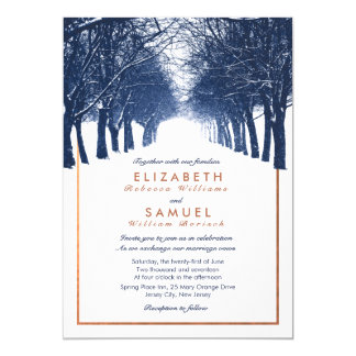 Copper Navy Winter Trees Avenue Wedding Invitation